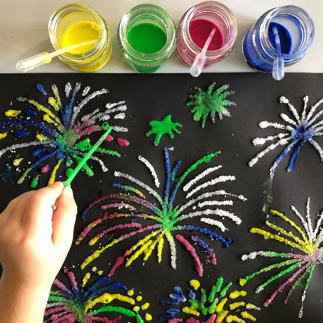 Salzmalerei Feuerwerk Salzmalerei Kunstunterricht Malerei