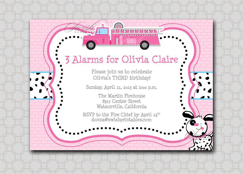 Pink Firetruck Birthday Invite | Printable Birthday Invitation ...