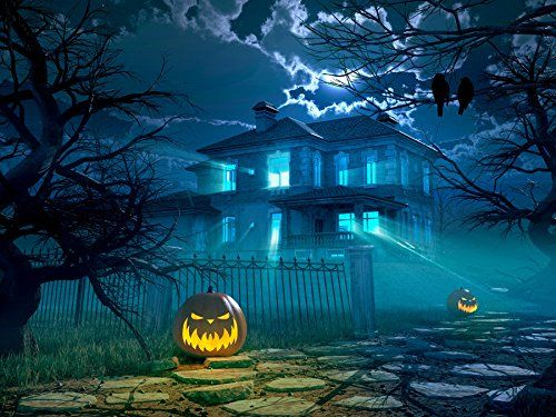 5x7 Halloween Photography Backdrop Blue Night Sky Villa T   - halloween backdrop
