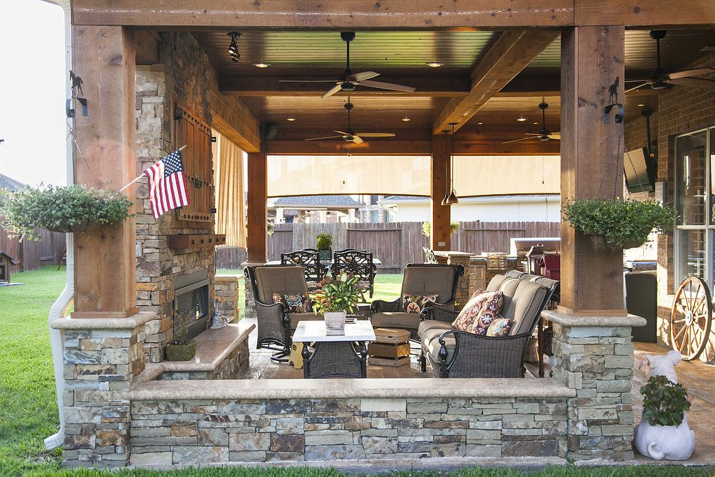 Large Covered Patio With Outdoor Kitchen Fireplace And Dining Living Room Area In Katy Texas Patio Covered Patio Outdoor Living Design