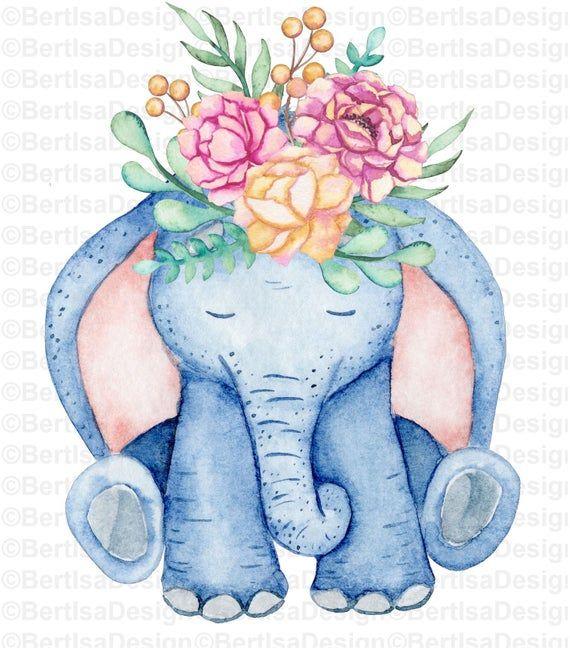 Sublimation Design, Watercolor Elephant, Watercolor PNG ...