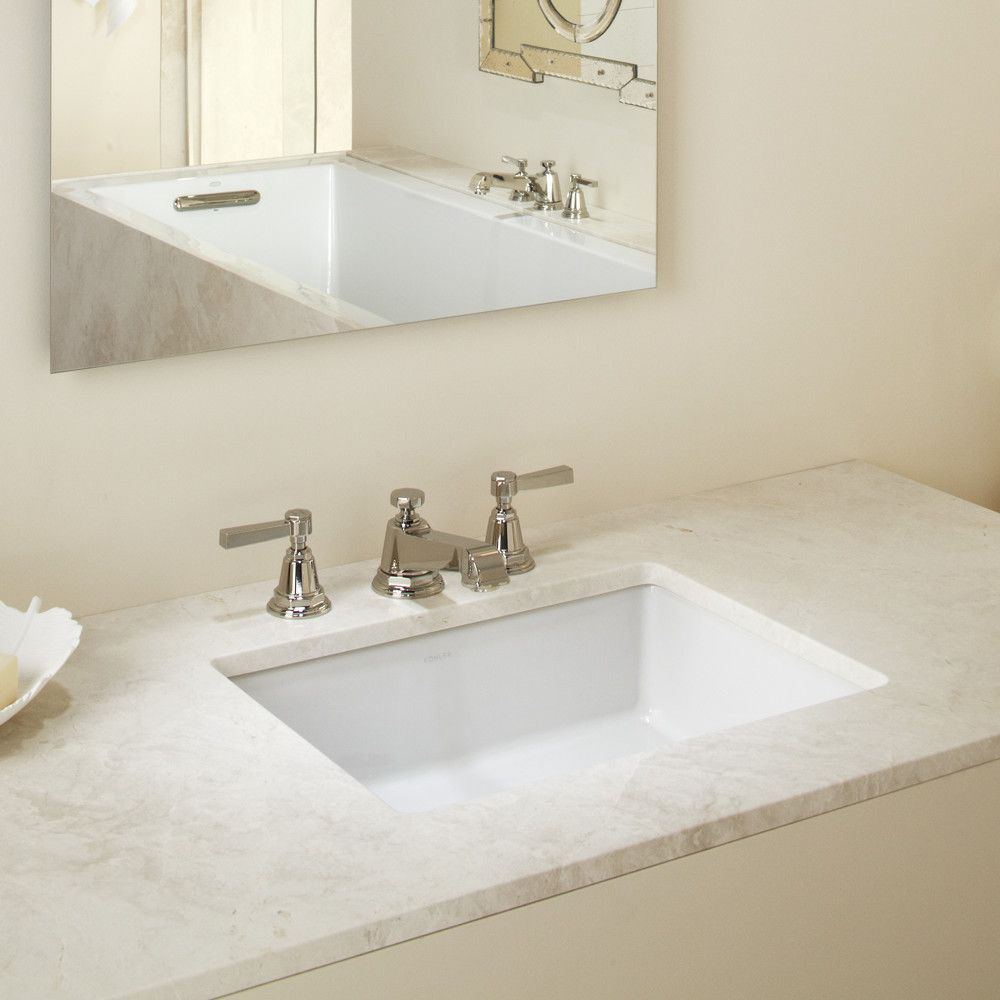 Vertical Ceramic Rectangular Undermount Bathroom Sink With Overflow Undermount Bathroom Sink