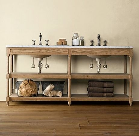 Weathered Oak Double Washstand Traditional Bathroom Vanities And Sink  Consoles