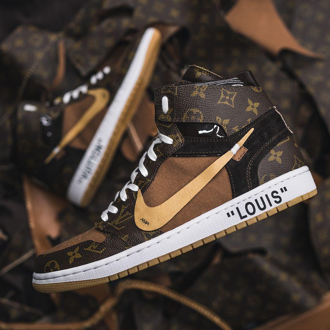b61ae77e156b7c These Louis Vuitton OFF–WHITE x Nike Air Jordan 1s Are Next Level ...