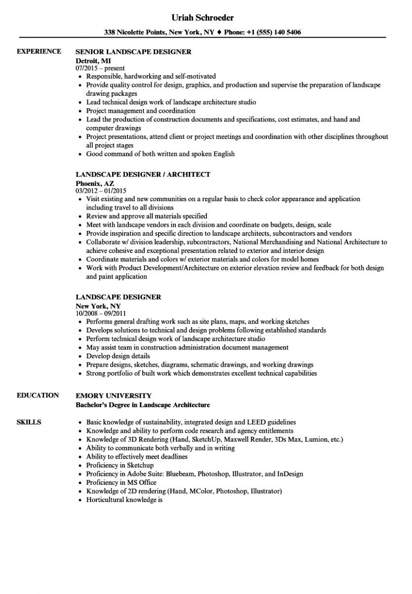 10 Primary Landscaping Resume