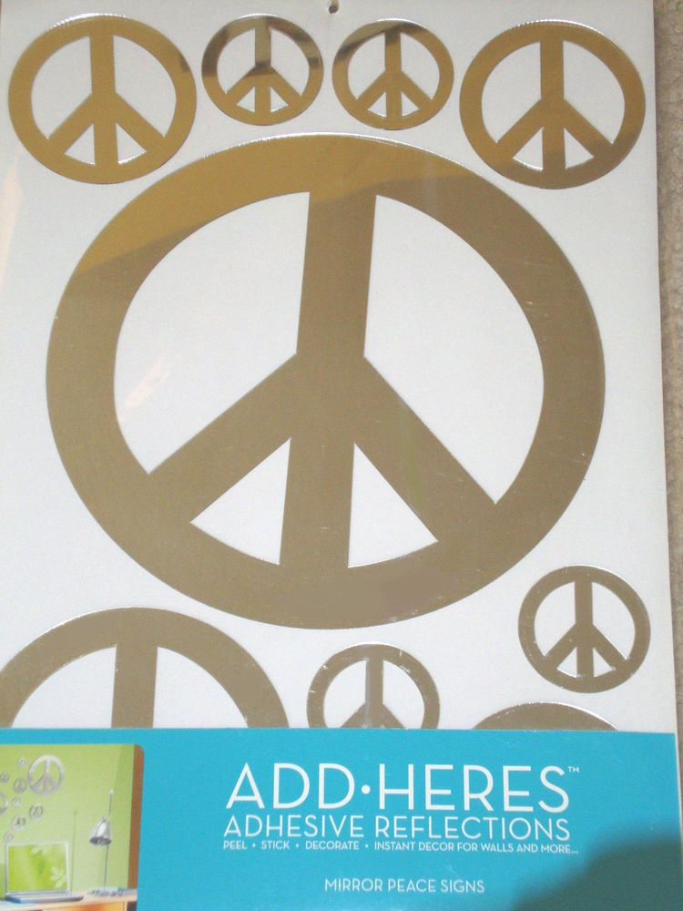 Mirror Peace Signs SET of NINE 9 Adhesive Stickers Wall Decor NEW ...