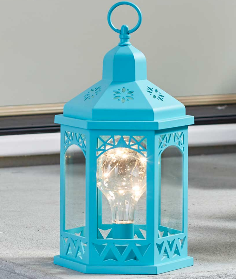 Indoor Outdoor Tabletop Hanging Lantern Fairy Lights Battery Operated Teal Blue Ebay Outdoor Candle Lanterns Lanterns Decor Lantern With Fairy Lights