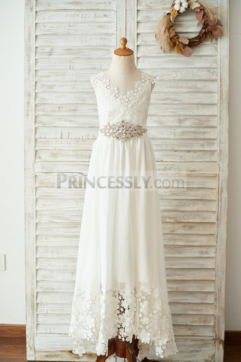 f4c2351a736b Boho Beach Lace Chiffon Backless Long Wedding Flower Girl Dress with Belt