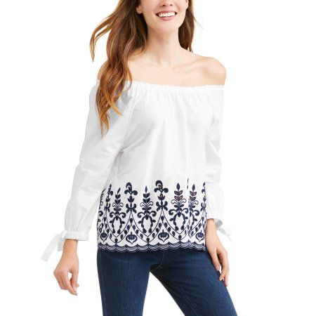 a7c2433905932 Time and Tru Women s Embroidered Tie Sleeve Top