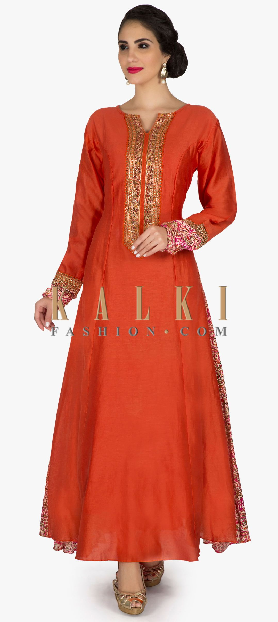 Rust a line dress with embroidered placket and printed kali only on