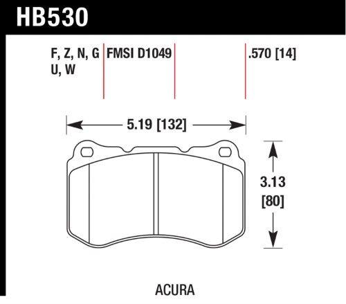 Hawk DTC (Dynamic Torque Control) Brake Pads HB530W.570
