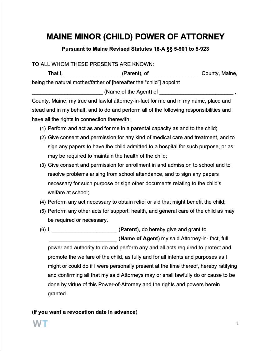 Maine Minor Child Power Of Attorney Form Power Of Attorney Form Power Of Attorney Power