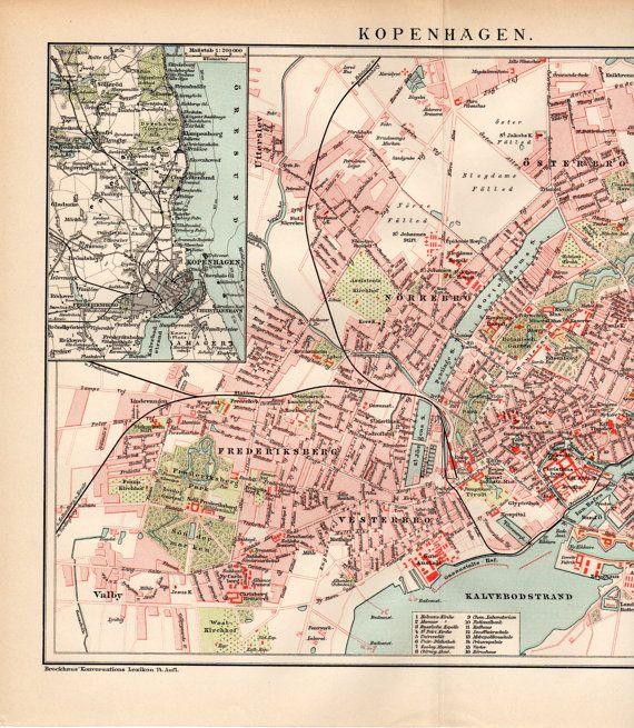 copenhagen denmark map 1894 antique map world maps by craftissimo 1395
