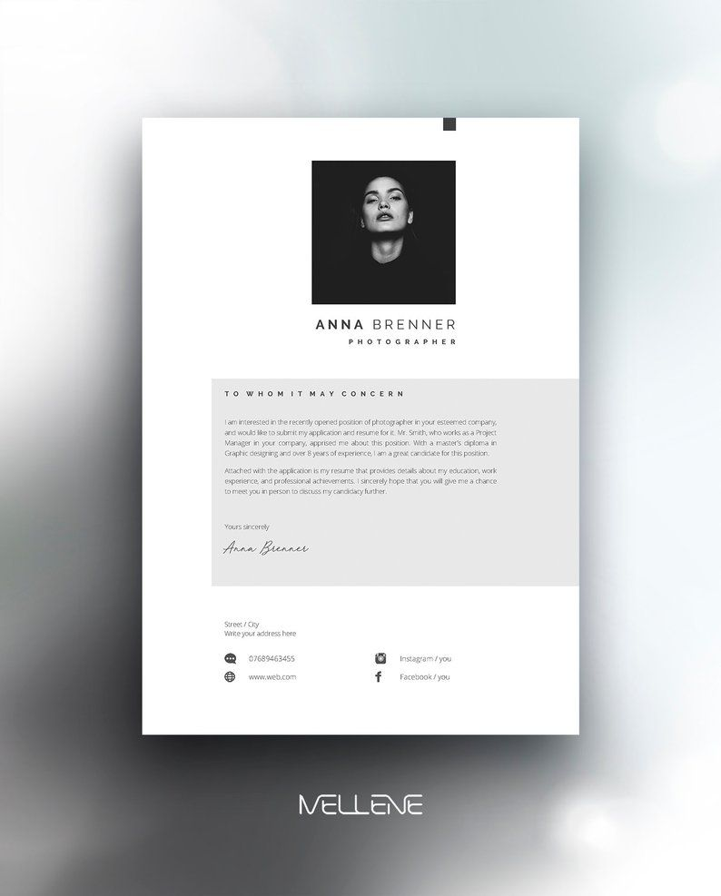 Resume Template 5 Page Cv Template Cover Letter Instant Download For Ms Word Anna Cv Template Lettering Cover Letter