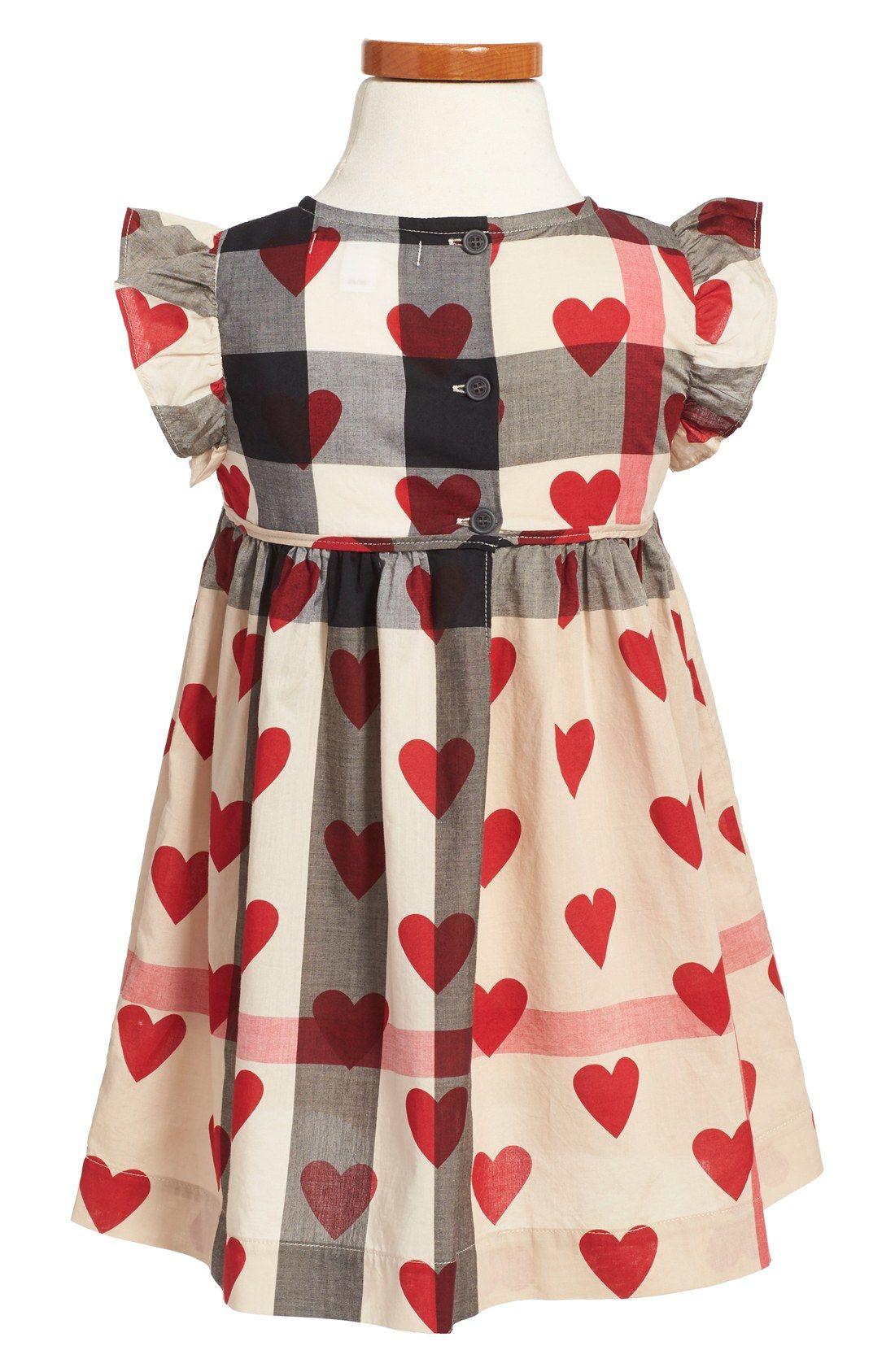 fe7d951a71 Burberry  Amanda  Check   Heart Print Cotton Voile Dress (Toddler Girls)