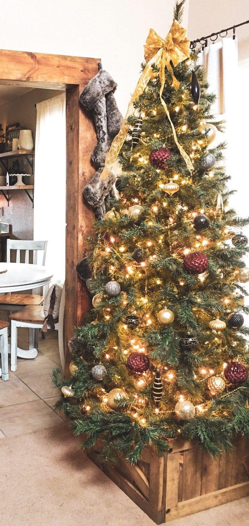Christmas Tree Box Tree Skirt Alternative Wood Tree Box Collapsible Tree Skirt In 2020 Christmas Tree Box Tree Box Christmas Tree