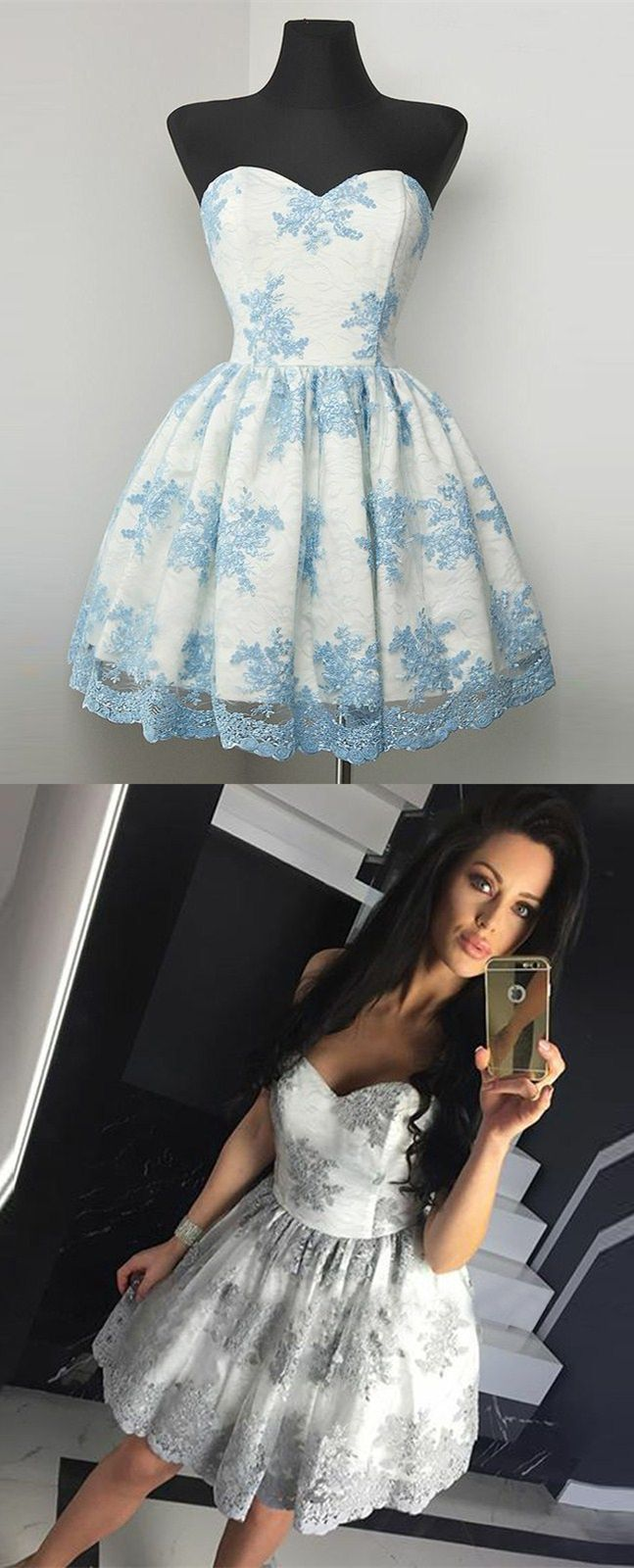 A-Line Sweetheart Grey Tulle Short Homecoming Dress with Lace ...