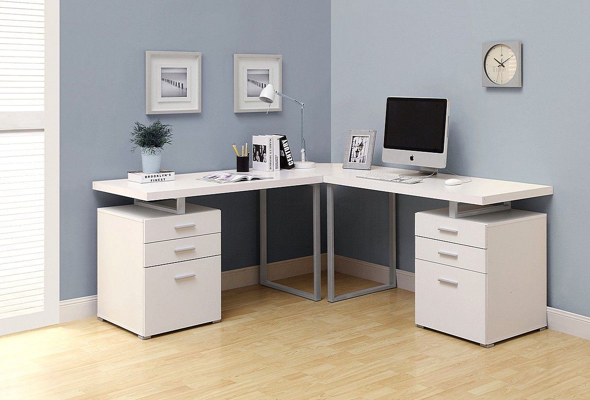 work desk ideas white office. White L Shaped Corner Desk Computer For Office Or Workspace Work Ideas N