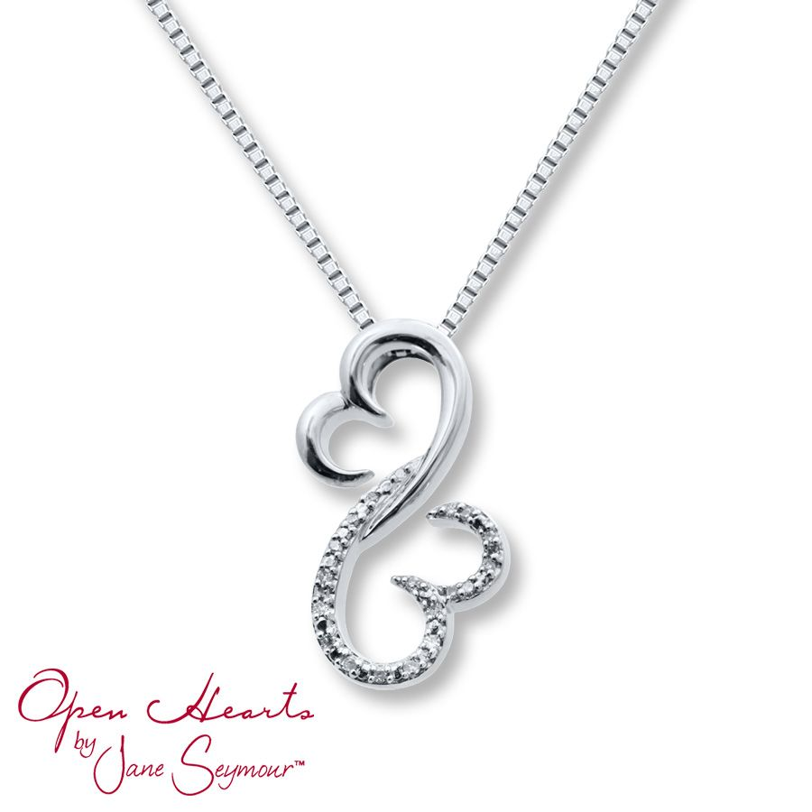 bff522166 Open Hearts Family by Jane Seymour™ DIAMOND NECKLACE 1/20 CT TW ROUND-CUT  STERLING SILVER Stock number: 211042104 $115.00