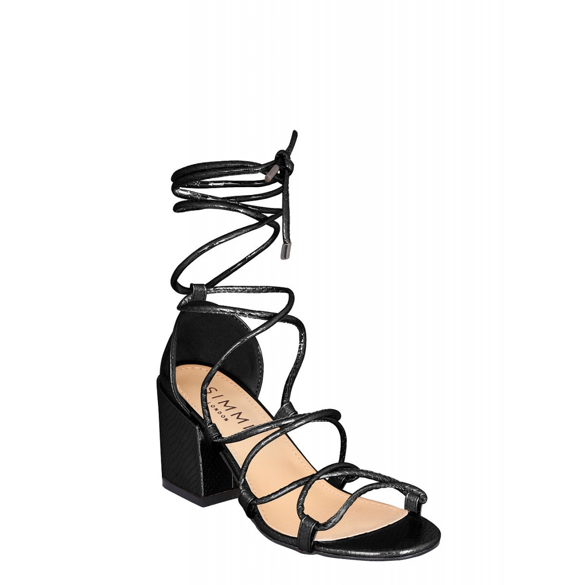 e3541683bcd Kyra Black Snake Lace Up Mid Block Heels | Wish List. Want List ...