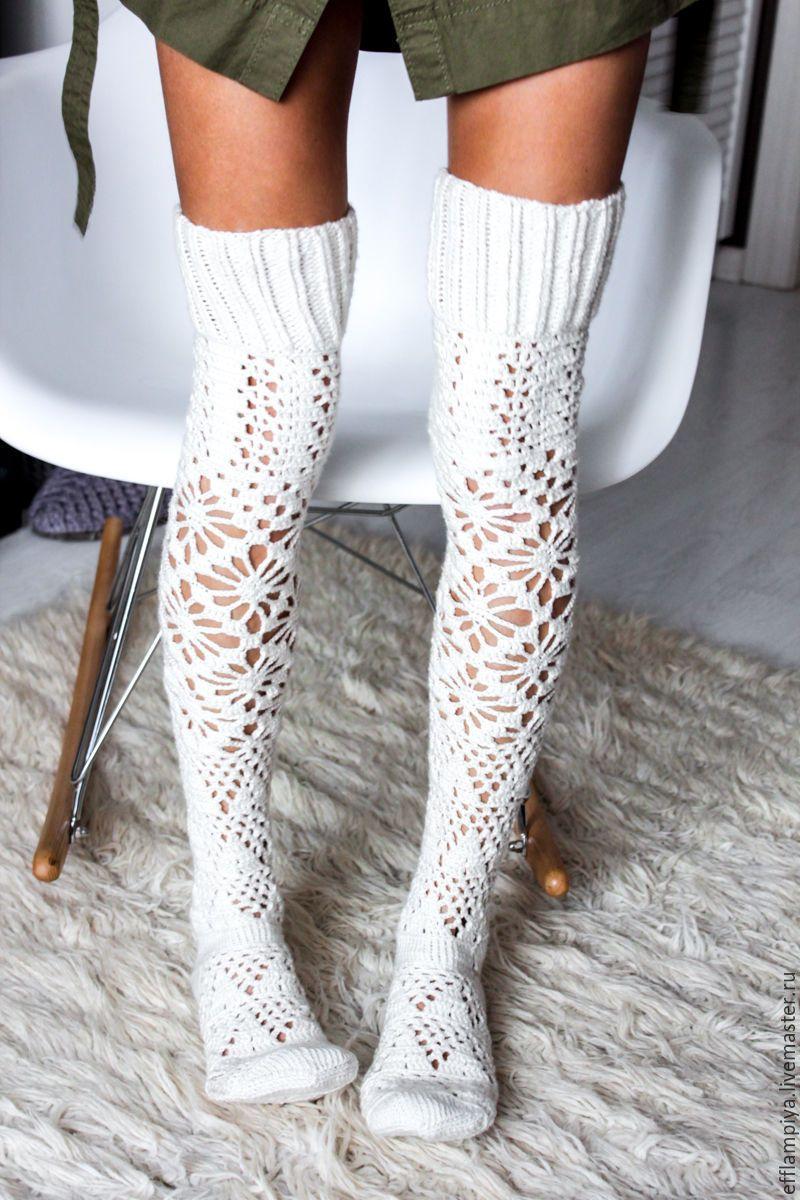 Knitted Knee Socks купить вязаные гольфы England белый