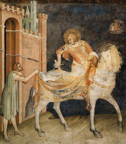 Assisi, Basilica di San Francesco, Unterkirche, Cappella di San Martino, Der hl. Martin teilt seinen Mantel, Fresko von Simone Martini (Basilica of St. Francis, Division of the Cloak)  #TuscanyAgriturismoGiratola