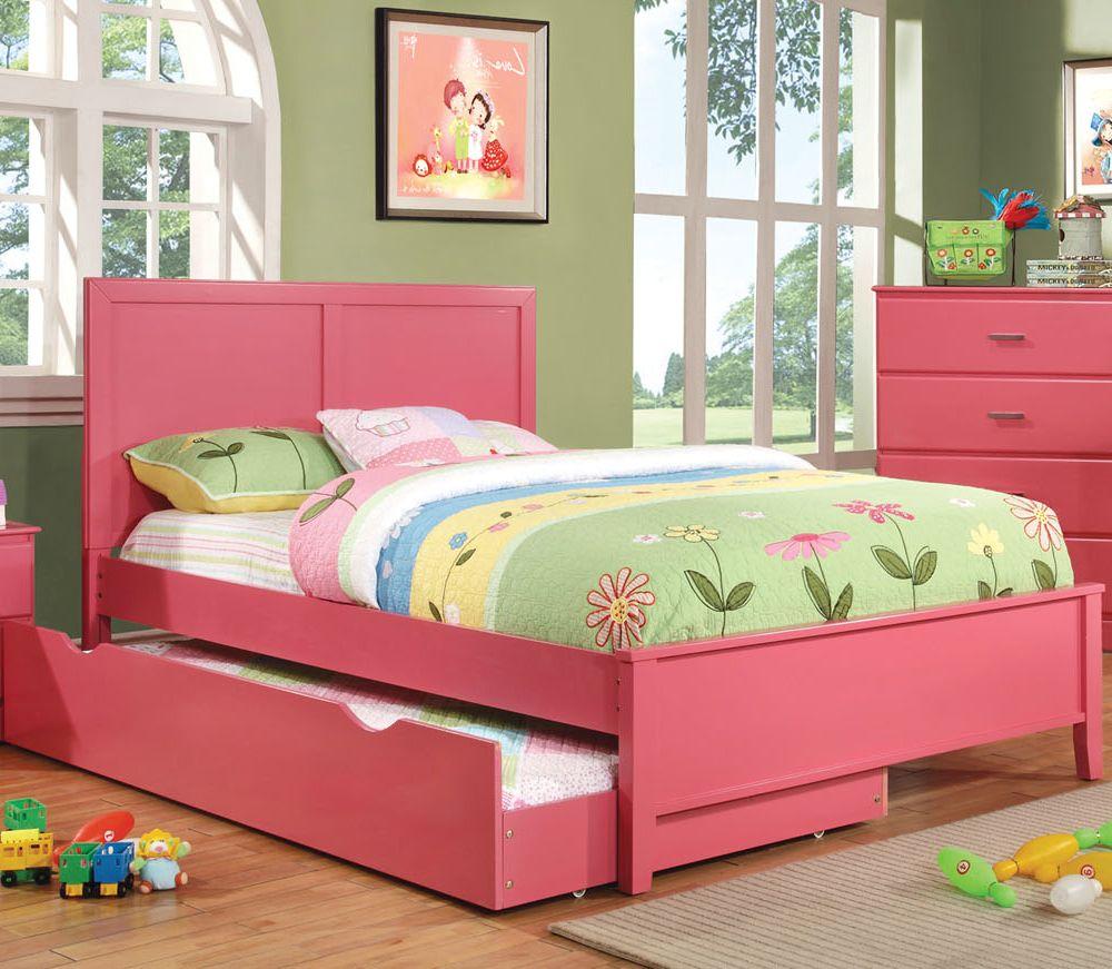 Prismo Youth Kids Pink Full Platform Storage Trundle Bed