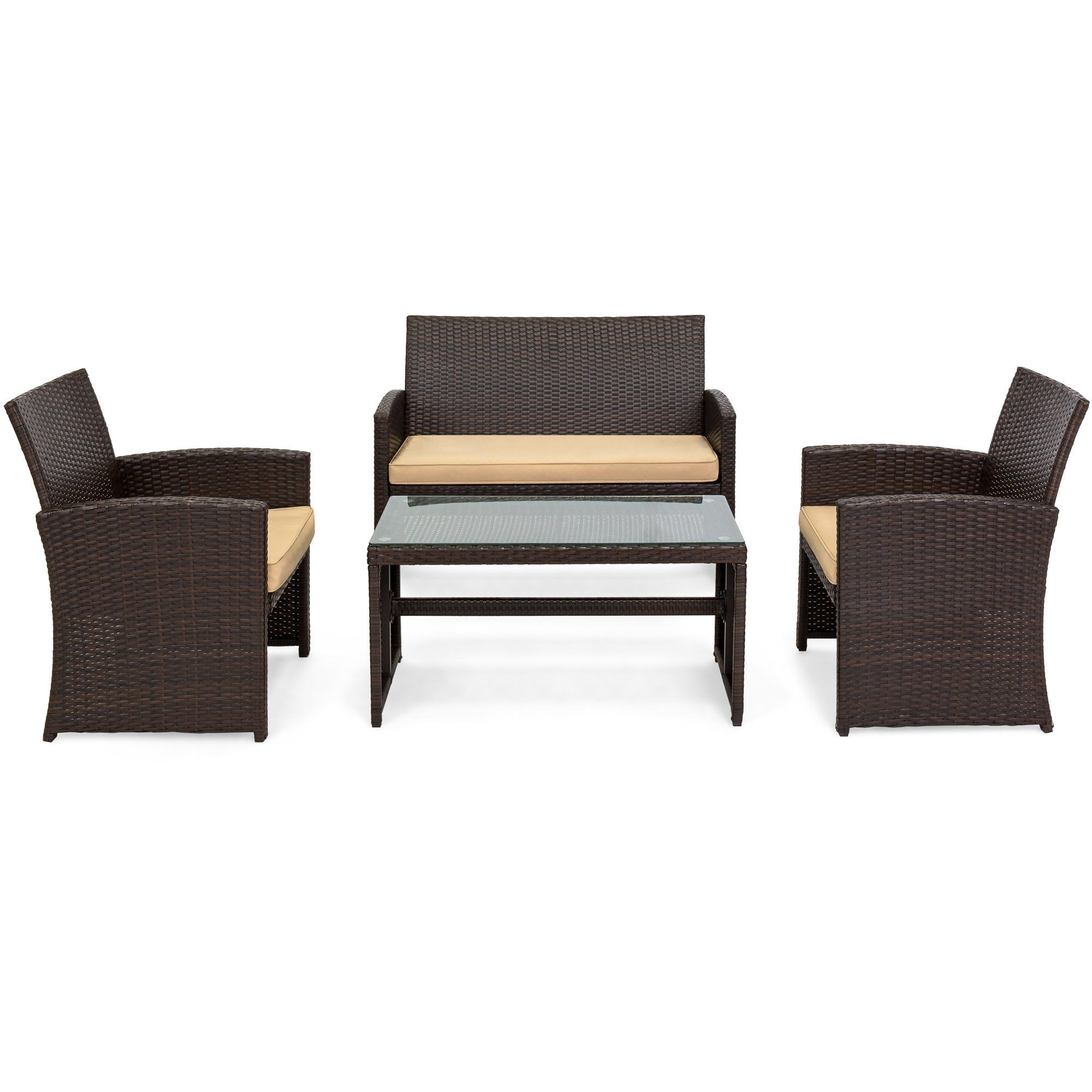 Best Choice Products 4piece Wicker Patio Furniture Set W Tempered