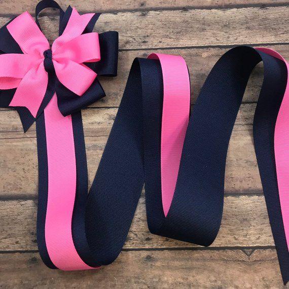 Hair Bow Holder Navy And Pink Hair Clip Holder Ribbon