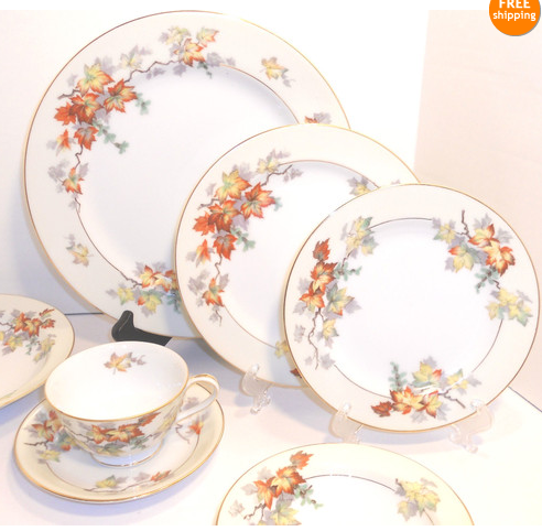 It Seems Japan Also Had Copy Cat China Companies Craftsman S Autumn Pattern Vs Sango China Silver Maple M Vintage Tea Vintage Tea Party Comfort And Joy
