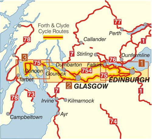 The Fourth & Clyde Cycle route (Edinburgh, Glasgow, Tarbet, Dunoon, Gourock, Paisley, Falkirk and Leith; and, two short ferry journeys).