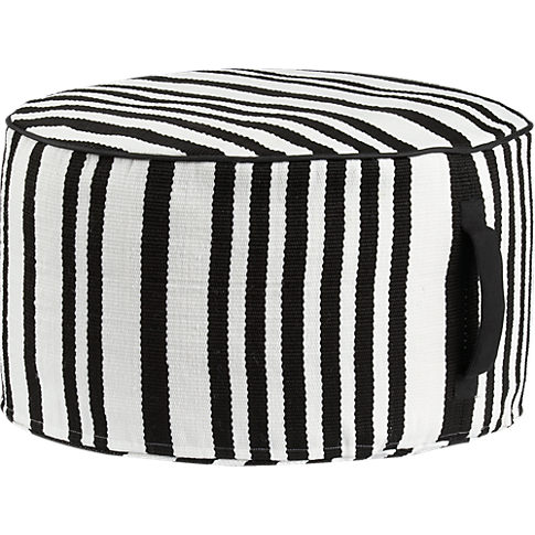 stripe woven black and white outdoor pouf in pillows CB2