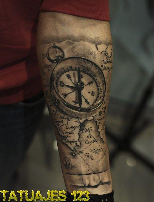 Tatuaje Mapas Buscar Con Google Forearm Sleeve Tattoos Tattoo Sleeve Designs Compass Tattoo Men