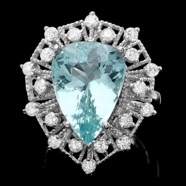 14k Gold 8.05ct Aquamarine 1.49ct Diamond Ring : Lot 177C