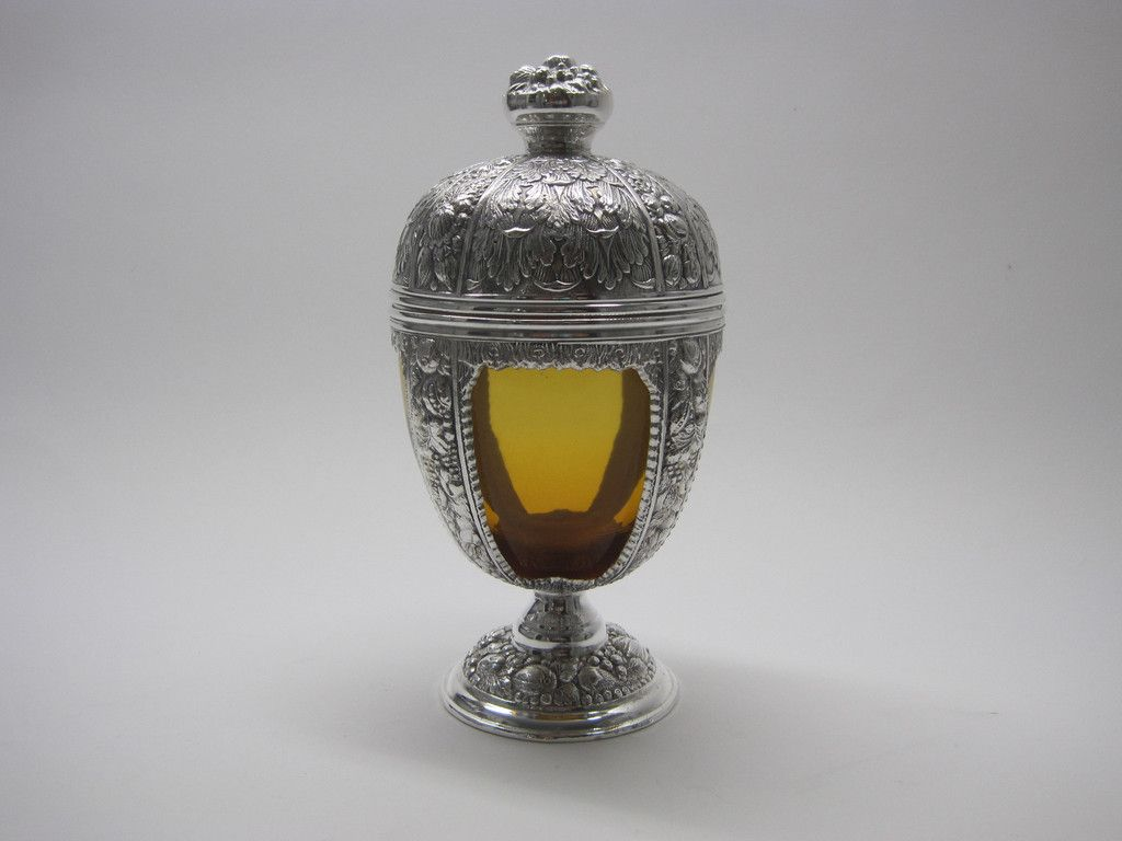David Friedman Antiques · Silver & Amber Glass Covered Jar