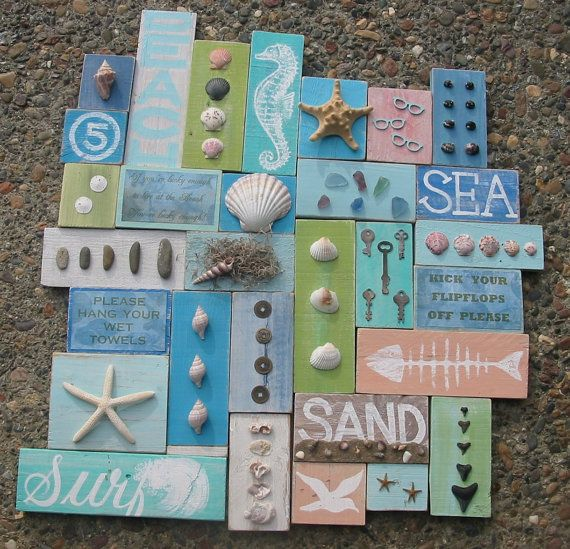 SEA Ocean Coastal BEACH Cottage Collage Wall by GeorgiasSigns, $150.00 #collagewalls