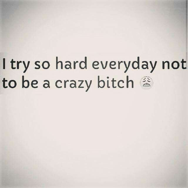 I Try So Hard Everyday Not To Be A Crazy Bitch Too True Quotes
