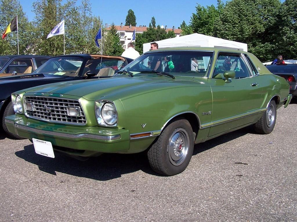 dark yellow green 1976 mustang ii hardtop with ghia luxury group options