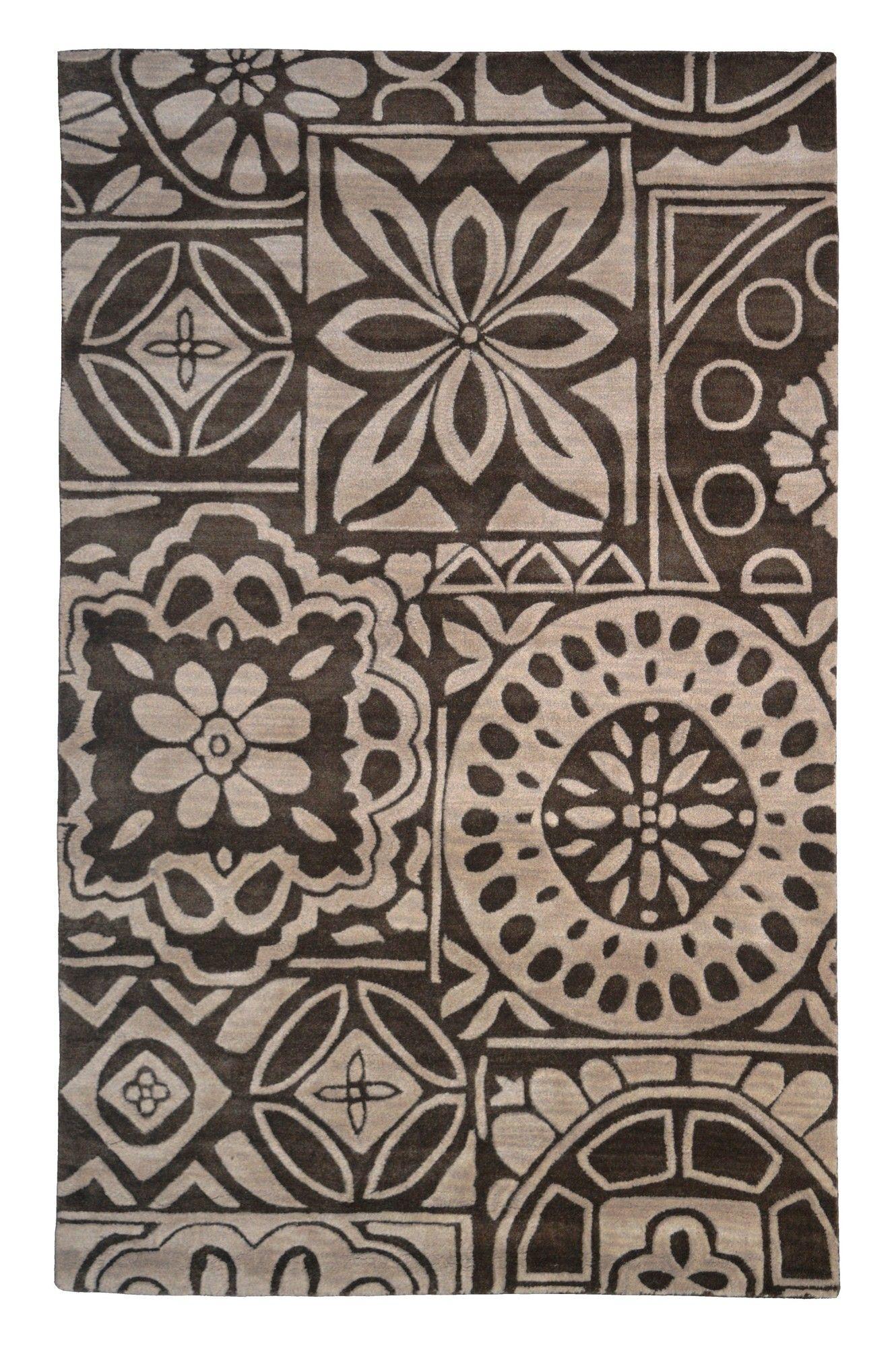 Wool Floral Hand Tufted Brown Beige Area Rug Wool Area Rugs Beige Area Rugs Rugs