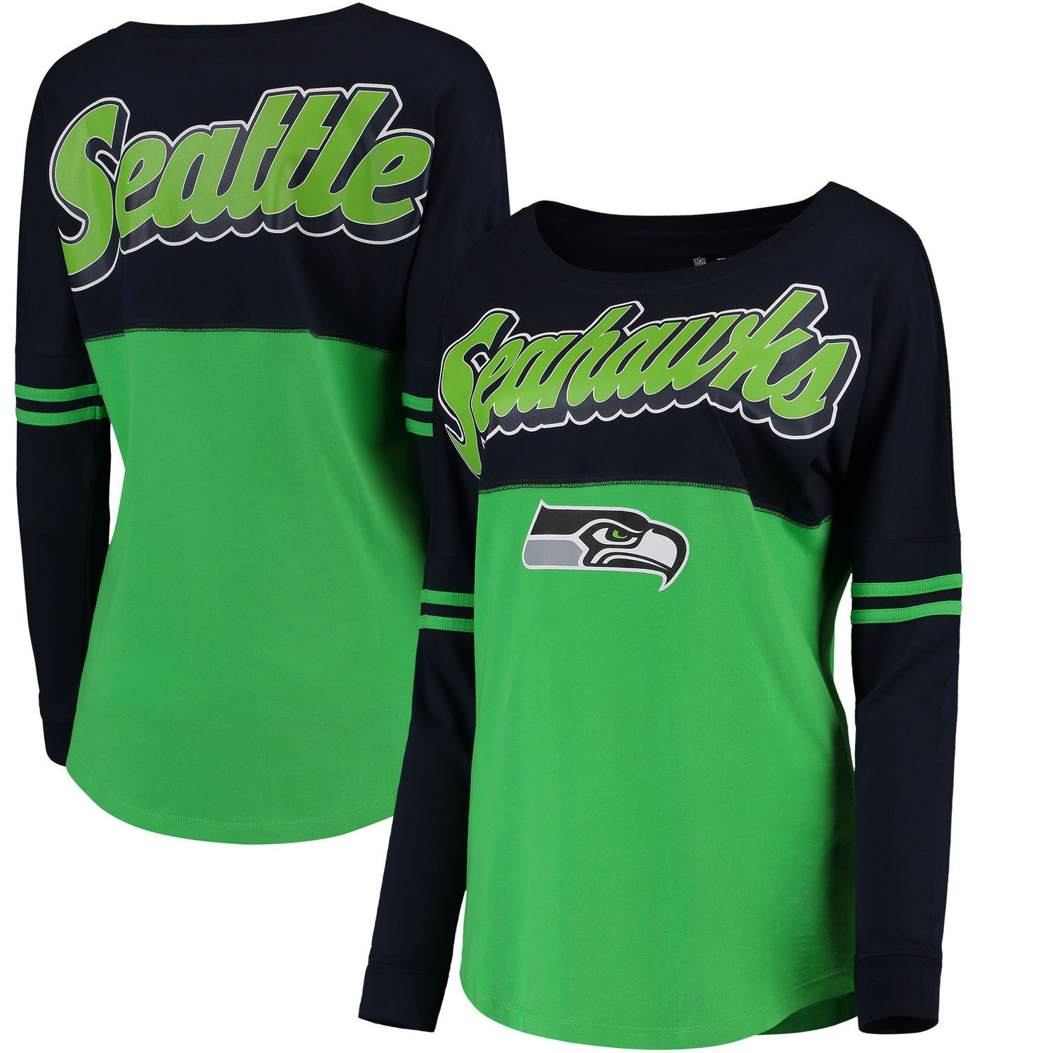 821b031111b Women s Seattle Seahawks 5th   Ocean by New Era College Navy Neon Green  Athletic Varsity Long Sleeve T-Shirt
