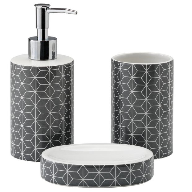 Buy Argos Home 3 Piece Bathroom Accessory Set Geo Grey Bathroom Sets With Images Bathroom Accessories Sets Gray Bathroom Accessories