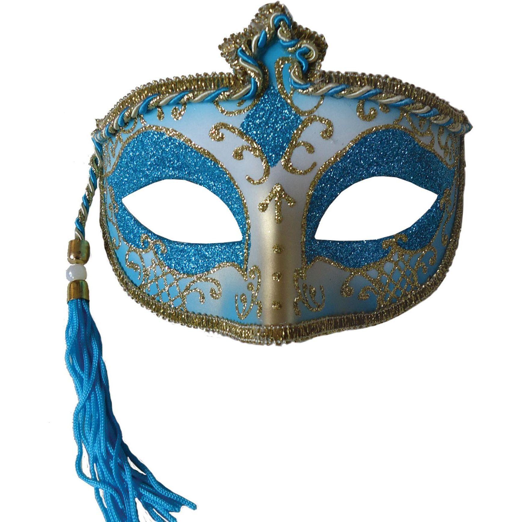 Tasseled Mardi Gras Mask Blue