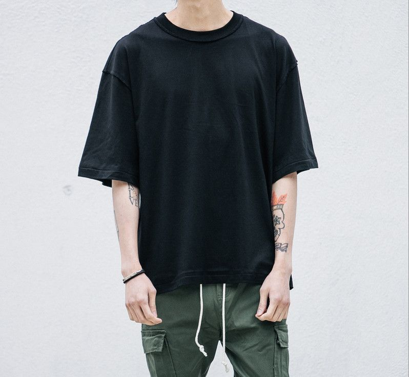 abe7b177c14 Man streetwear justin bieber T shirts urban Clothing Kanye plain  white grey black oversized shirts blank T shirt fear of god