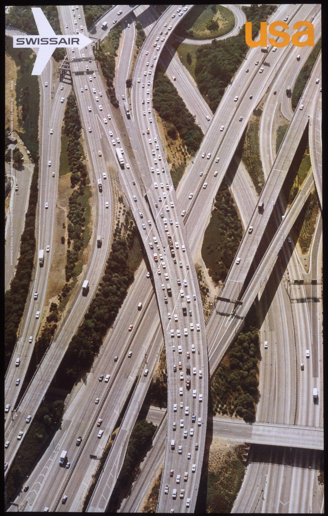 Swissair USA 1972  Los Angeles freeway system; landscape with Swissair logo