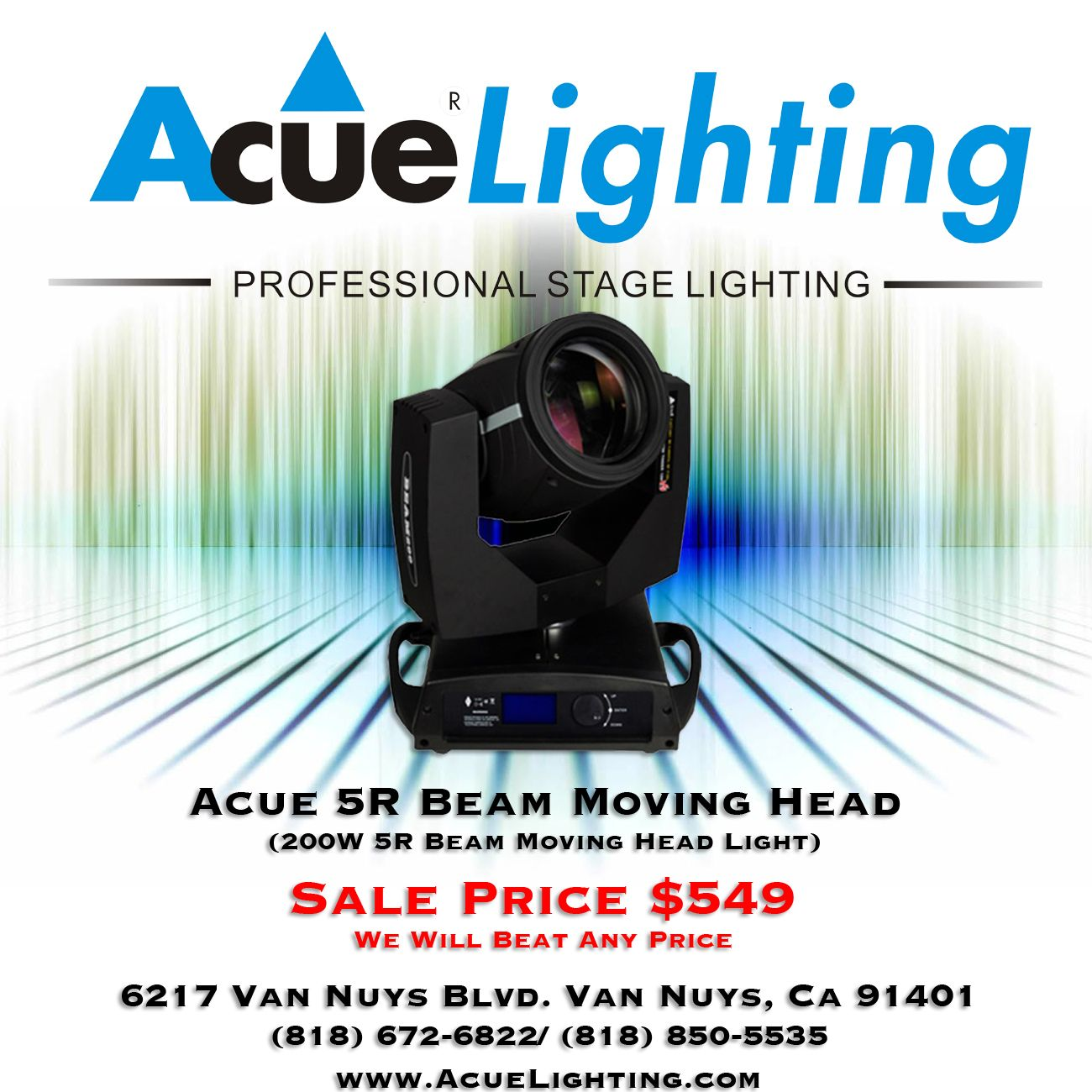 The Acue Lighting 5R Beam 200W Moving Head is the fixture