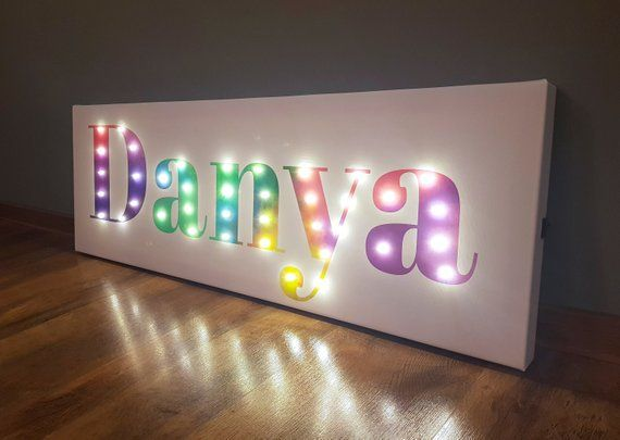 Lighted Name Sign Name Lights Colorful Sign Rainbow Wall Etsy In 2020 Rainbow Wall Art Rainbow Wall Light Up Letters
