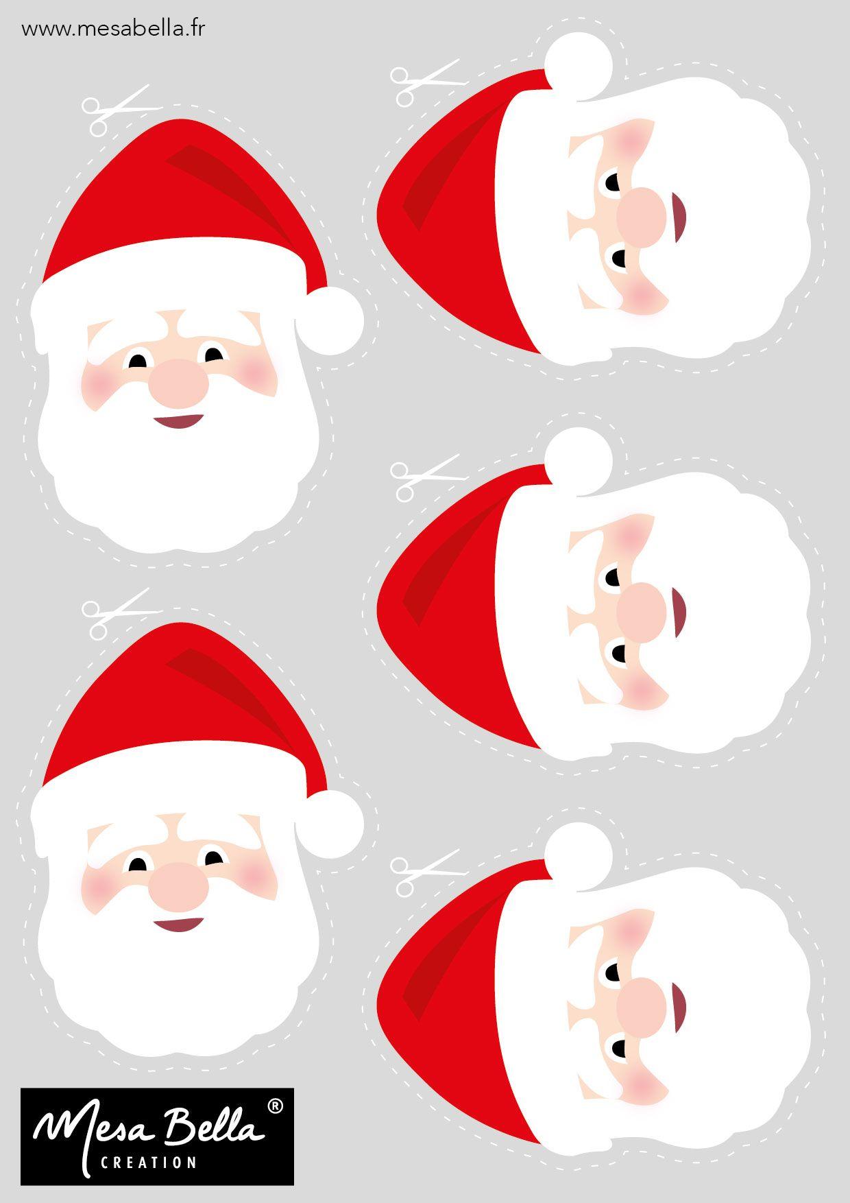Planche t te p re noel imprimer et d couper bricolage et diy christmas holidays - Images noel a imprimer ...
