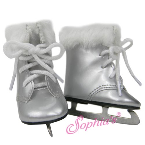 """DOLL CLOTHES ICE SKATES SILVER FUR TRIM FITS  AMERICAN GIRL AND  18/"""" DOLLS"""