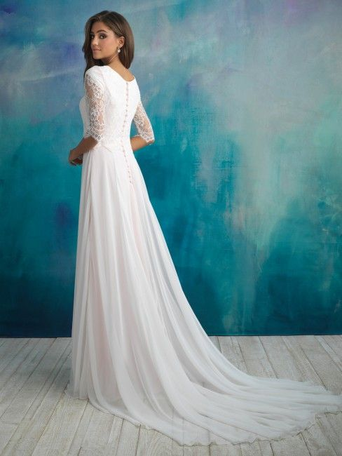This Allure Modest M591 blouson-style conservative wedding gown ...