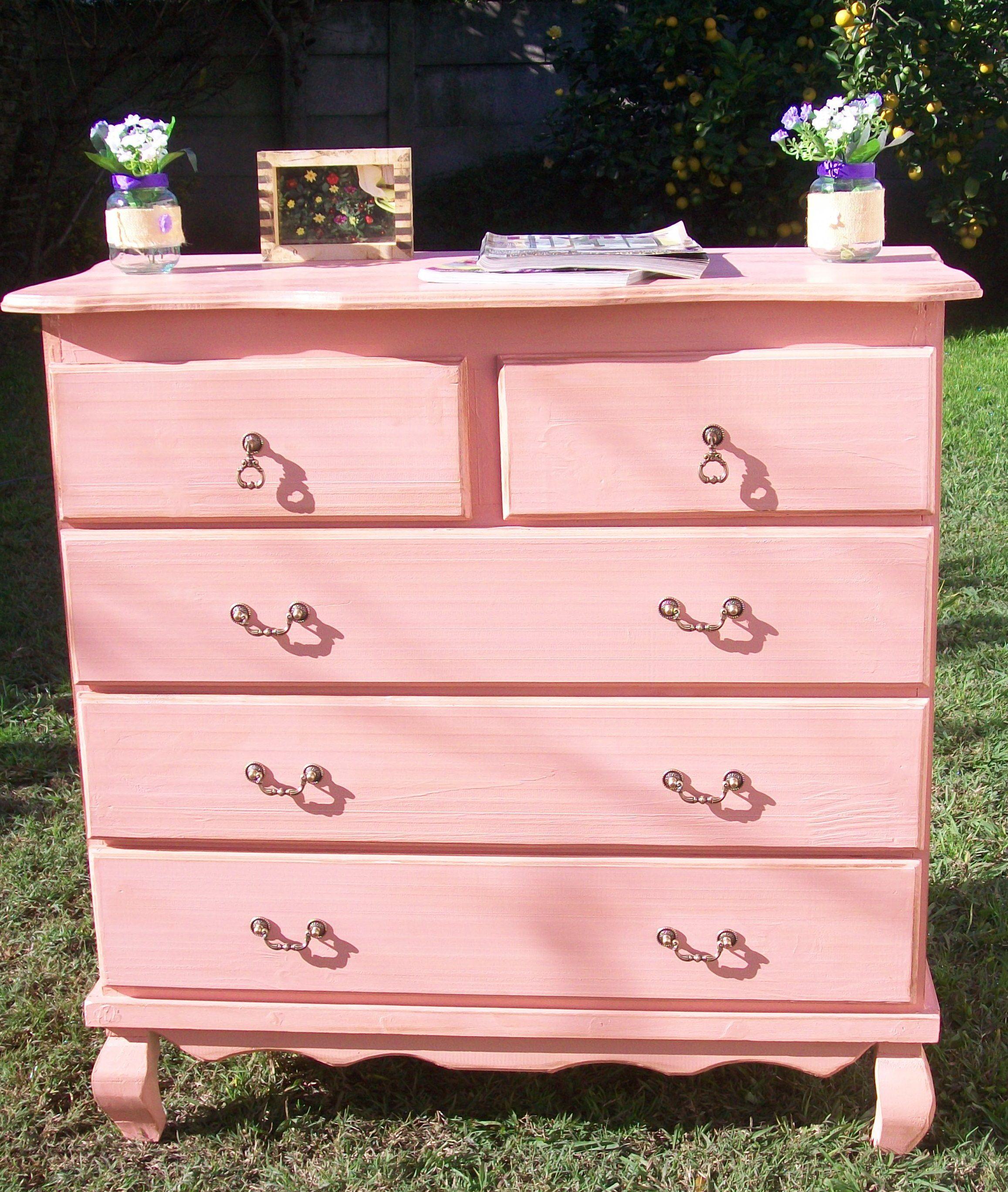Comoda estiloprovenzal rosa vintage comodas chiffonier - Muebles restaurados vintage ...